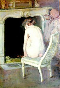 Helleu, Paul Cesar ~ Nude Seated by the fire
