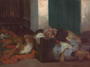 Dagnan-Bouveret, Pascal Adolphe Jean ~ Orientalist Scene of a Sleeping Man and Tiger