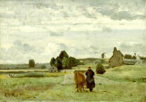 Corot, Jean-Baptiste-Camille ~ Vachere sur une route en Picardie