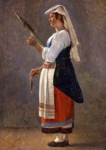 Michallon, Achille Etna ~ A Pair: Paysanne Romaine Filant Au Fuseau (Italian Peasant Spinning)