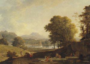 Valenciennes, Pierre Henri de ~ An Ideal Classical Landscape with Washerwomen around a Fountain