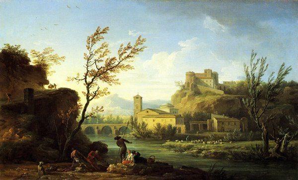 Vernet, Claude-Joseph ~ An Italianate River Landscape