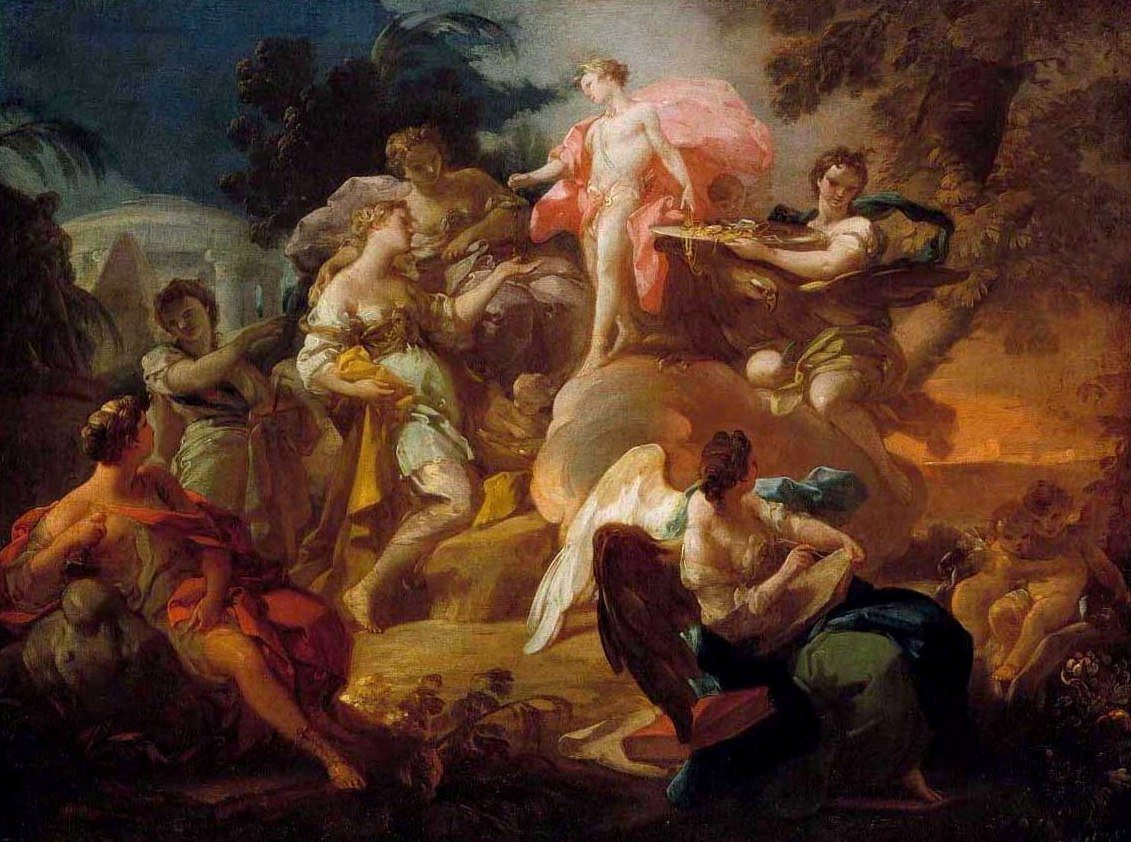 Giaquinto, Corrado ~ Apollo rewarding the Arts (An Allegory of the Spanish Monarchy as Patrons of the Arts in a Peaceful Spain)