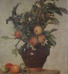 Fantin-Latour, Henri ~ Branches de pommier dans un pichet; pommes a terre