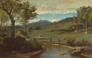 Corot, Jean-Baptiste-Camille ~ Campagne Romaine – Vallée Rocheuse Avec Un Troupeau De Porcs