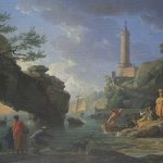 Vernet, Claude-Joseph ~ Coastal Scene with a Lighthouse and Fisherman