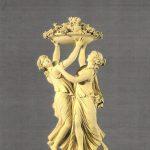 Lemoyne, Jean-Louis ~ Deux jeunes femmes – ou nymphes – portant avec trois bras une coupe chargee de fruits
