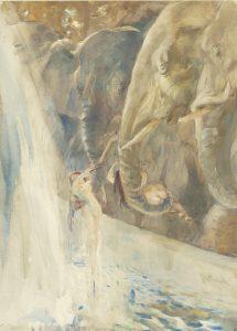 Besnard, Paul Albert ~ Femmes se baignant avec des éléphants
