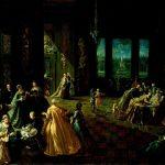 Lombardi, Giovanni-Domenico ~ Interior of a Palace with Elegant Figures