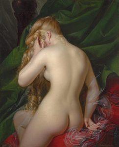 Dubois-Drahonet, Alexandre Jean ~ Jeune femme nue, vue de dos entourée de coussins et draperie