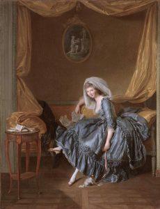 Trinquesse, Louise-Rolland ~ Jeune femme tenant sa correspondance dans son boudoir