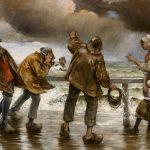 Goeneutte, Norbert ~ La digue par temps d'orage (Villagers on the jetty during a rainstorm)