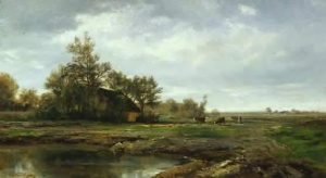 Daubigny, Charles-François ~ Landscape With A Pond And Cottage