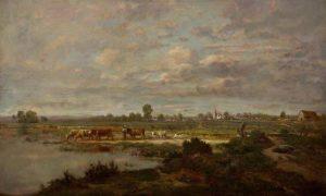 Rousseau, Pierre Étienne Théodore ~ Marais Au Printemps Dans Les Landes (Marsh On The Moors, Springtime)