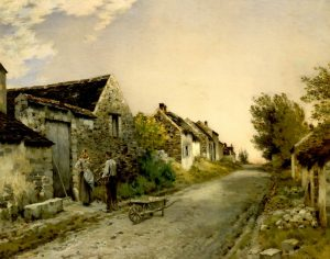 Cazin, Jean-Charles ~ Normandy Village Street at Dusk