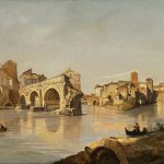 Corot, Jean-Baptiste-Camille ~ Rome: View of the Tiber from the Ponte Rotto to the Isola Tiberina with the Monastery of S. Bartolomeo