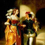 Devéria, Eugène François Marie Joseph ~ Scene from Walter Scott … Couple on a winding tower staircase