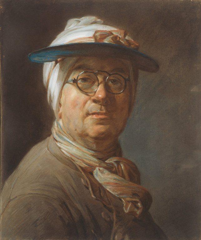 Chardin, Jean-Baptiste-Siméon ~ Self-Portrait with a Visor