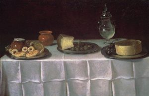 Van der Hamen y León, Juan ~ Serving Table with Plates of Sweets, Olives and Cheese, a Glass Vessel of Water, and a Terracotta Jar