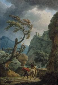 Vernet, Claude-Joseph ~ Soldiers in a Mountain Gorge, with a Storm