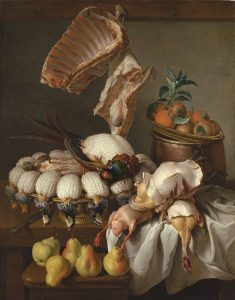 Desportes, Alexandre-François ~ Still-life of a kitchen table with dressed partridge, sheared pheasants, a rack and leg of lamb, a basket of oranges and five ripe pears