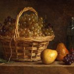 Roland de la Porte, Henri-Horace ~ Still Life with Basket of Grapes and Bottle of Wine