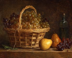 Roland de la Porte, Henri-Horace ~ Still Life with Basket of Grapes and Bottle of Wine