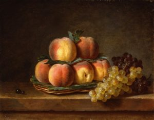 Roland de la Porte, Henri-Horace ~ Still Life with Basket of Peaches