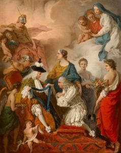 Subleyras, Pierre ~ The Duke of Saint Aignan investing Girolamo Vaini, Prince of Cantalupe and Duke of Selci, with the insignia of a Knight of the Holy Spirit, 1737