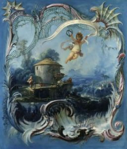 Boucher, François ~ The Enchanted Home: A Pastoral Landscape Surmounted By Cupid