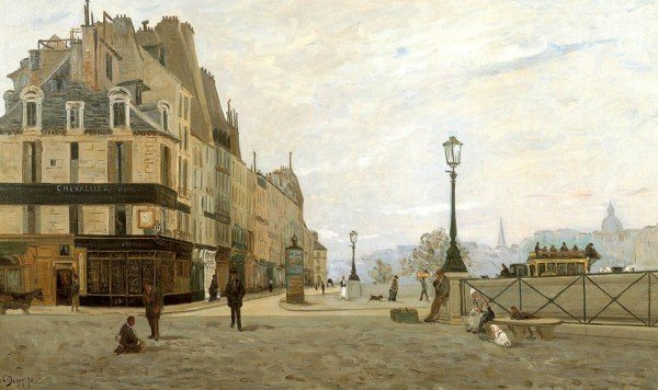 Delpy, Hippolyte-Camille ~ The Pont Neuf and the Quai des Orfèvres, from the Place du Pont Neuf