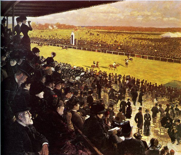 Nittis, Giuseppe de ~ The Races at Longchamps from the Grandstand