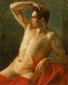 Géricault, Jean-Louis-Theodore ~ Torse d'homme de profil, le bras droit levé, 1812