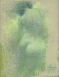 Lévy-Dhurmer, Lucien ~ Torse de femme, vue de dos, circa 1900