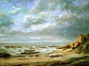 Courbet, Gustave ~ Vue D'une Mer Agitée Près D'une Falaise