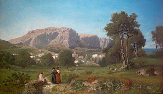 Harpignies, Henri-Joseph ~ Vue Prise dans L'île de Capri, Golfe de Naples (View of the Island of Capri)