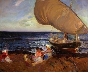 Sorolla, Joaquín ~ Waiting For The Catch, Valencia Beach
