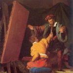 Fragonard, Alexandre-Evariste ~ Aretino in the Studio of Tintoretto
