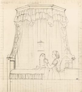Boutet de Monvel, Bernard ~ Preparatory drawing for Sylvie Boutet de Monvel and her dog, Champagne in Paris