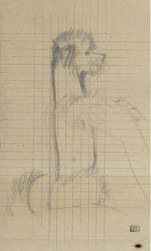 Boutet de Monvel, Bernard ~ Preparatory drawing of Champagne for Sylvie Boutet de Monvel and her dog, Champagne