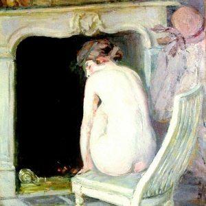 Helleu, Paul Cesar ~ Nude Seated by the fire