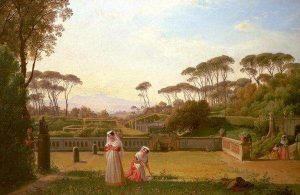 Catel, Franz Louis ~ Figures in the Garden of the Villa Doria Pamphili in Rome, with a View of the old Church of San Pan