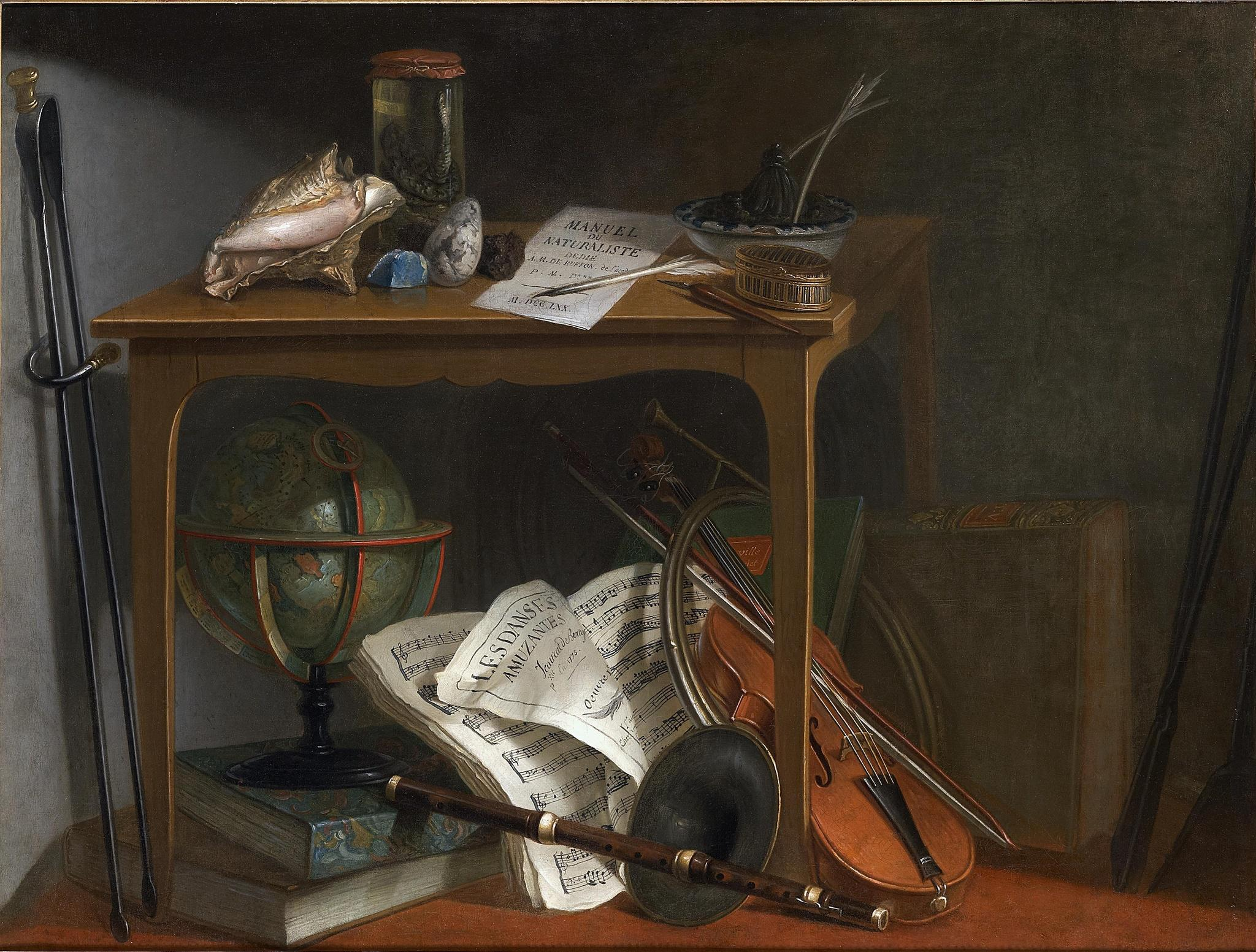 One Of A Pair Of Devants-de Cheminée: Naturalist Manual And Objects Resting On A Table