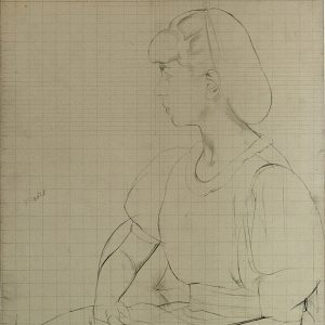 Boutet de Monvel, Bernard ~ Preparatory drawing for Sylvie in profile