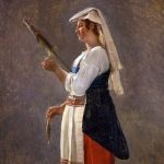 Michallon, Achille Etna ~ Paysanne romaine filant au fuseau, (Roman peasant woman spinning wool on a spindle)