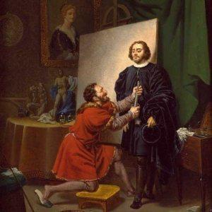 Bergeret, Pierre-Nolasque ~ Aretino in the Studio of Tintoretto
