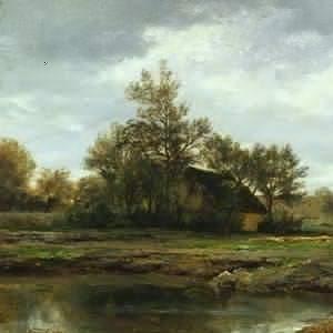 Daubigny, Charles-François ~ Landscape With A Pond And Cottage