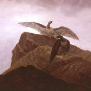 Carus, Carl Gustav ~ Phantasie aus der Alpenwelt. Adler, die auf einem Alpenhorn Nisten