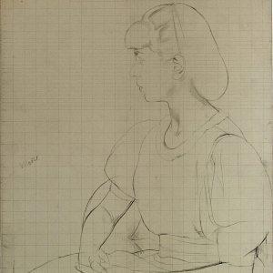 Boutet de Monvel, Bernard ~ Preparatory drawing for Sylvie in profile