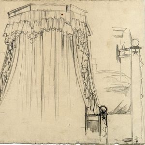 Boutet de Monvel, Bernard ~ Preparatory drawing for the bed in Syvie Boutet de Monvel and her dog, Champagne in Paris